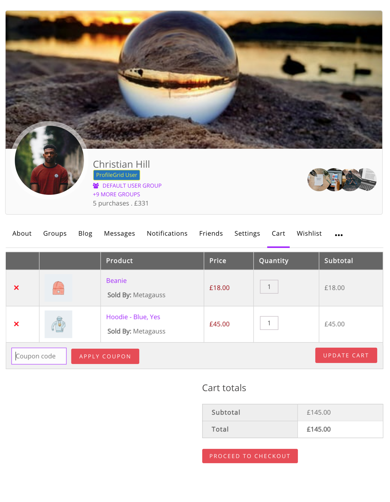 User Profile WooCommerce Cart
