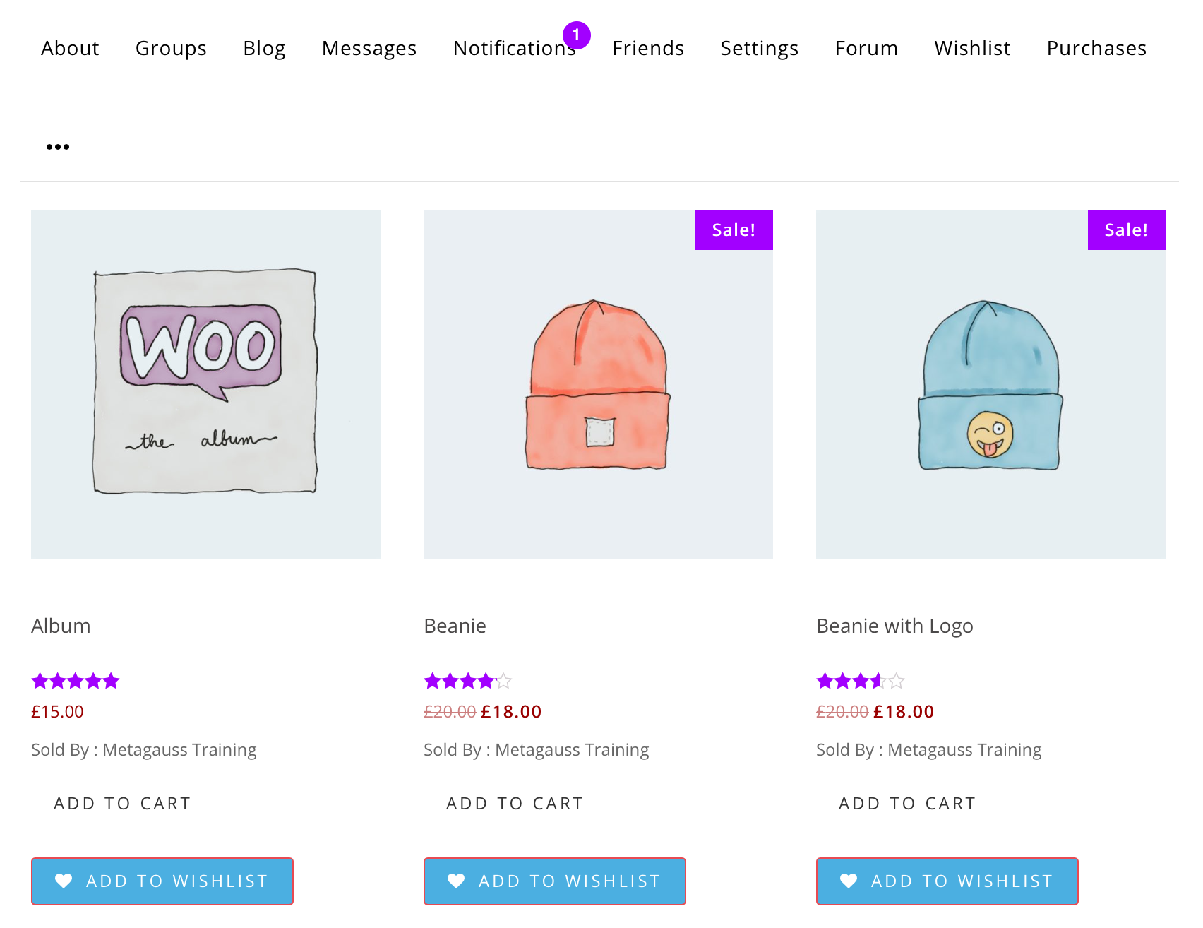 WooCommerce products inside WordPress user profile