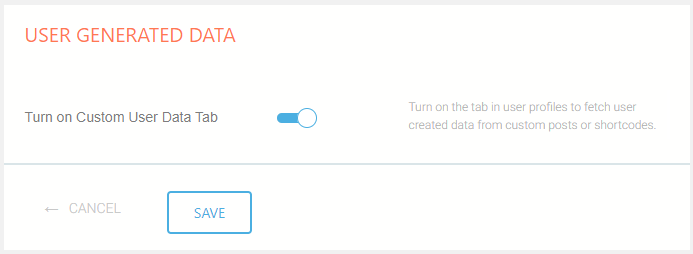 Enable User Generated Data