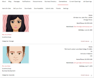 Connections Business Directory User Profiles directory
