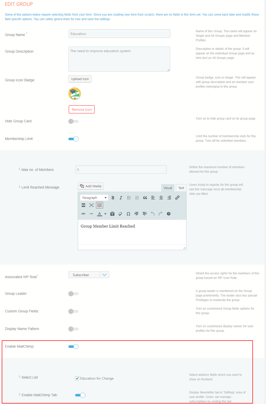 allow users to subscribe MailChimp list edit group