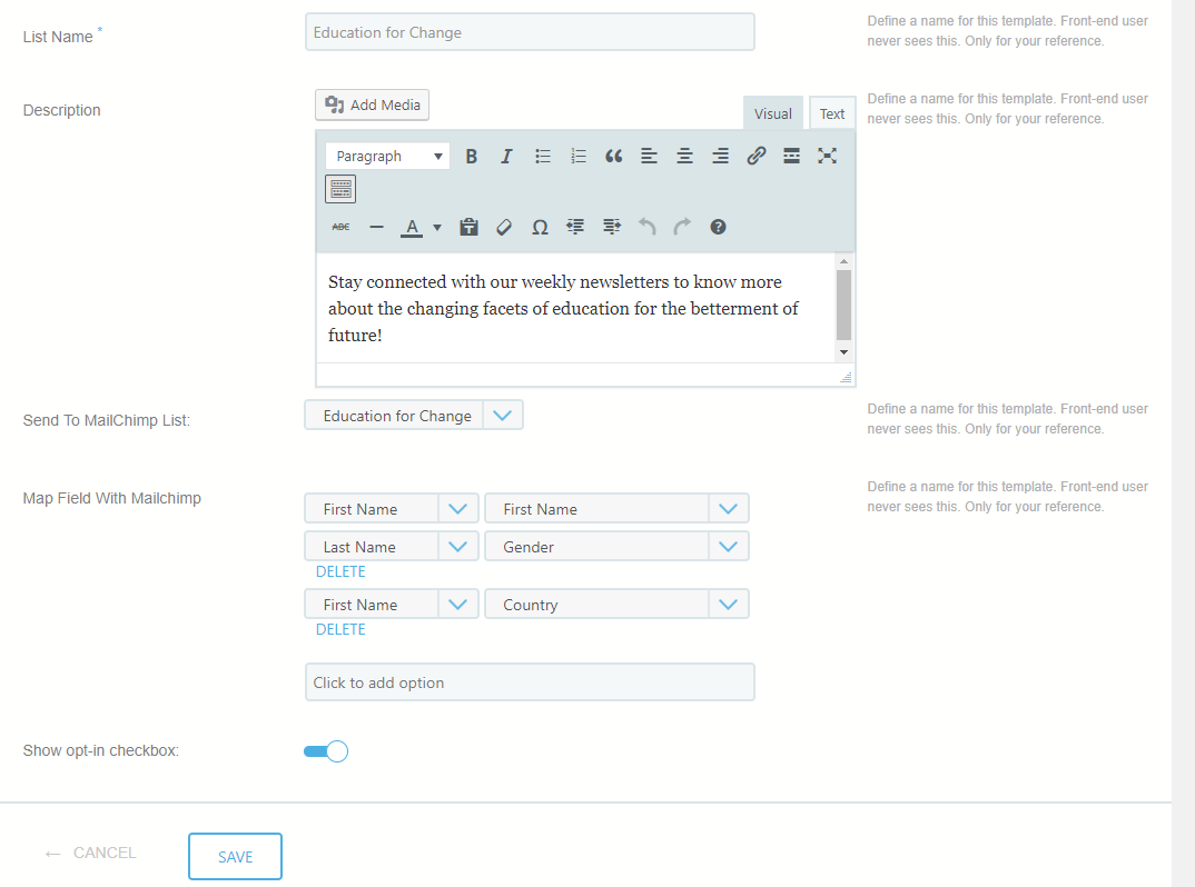 allow users to subscribe MailChimp list new page