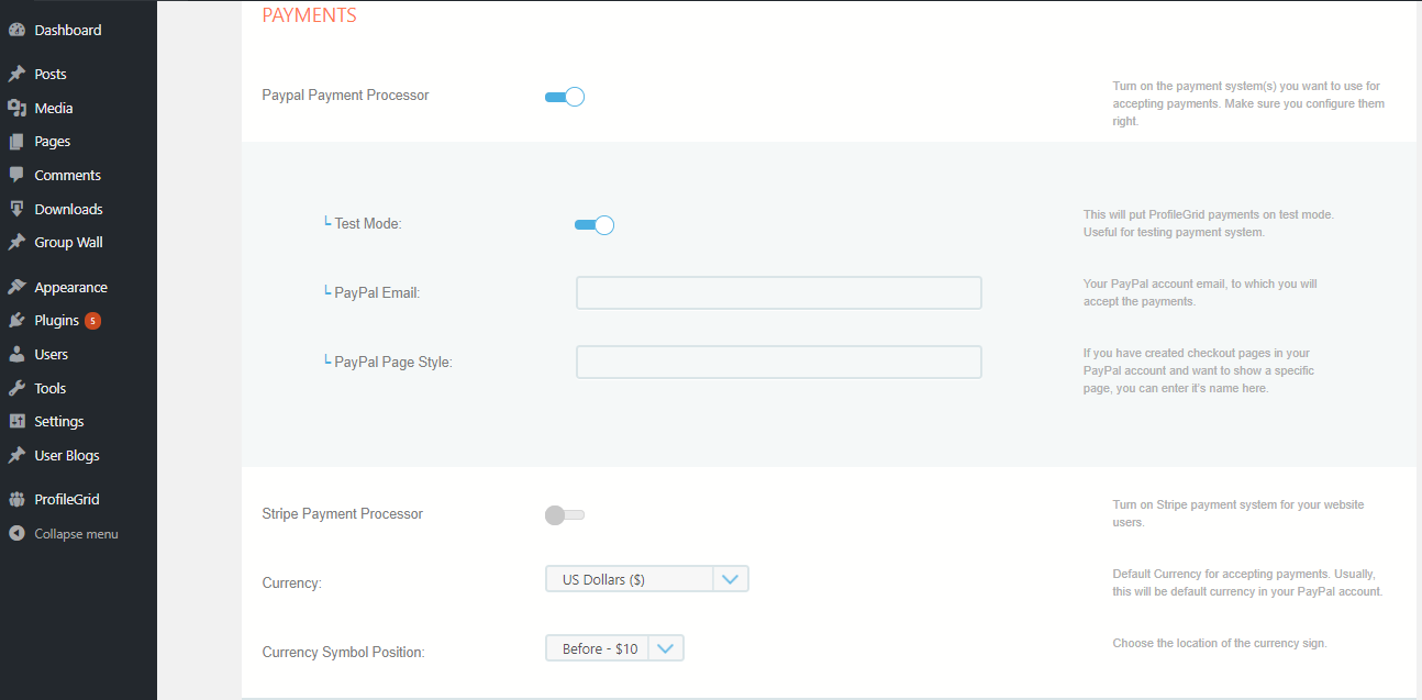 Accept Payments On Membership Site global settings
