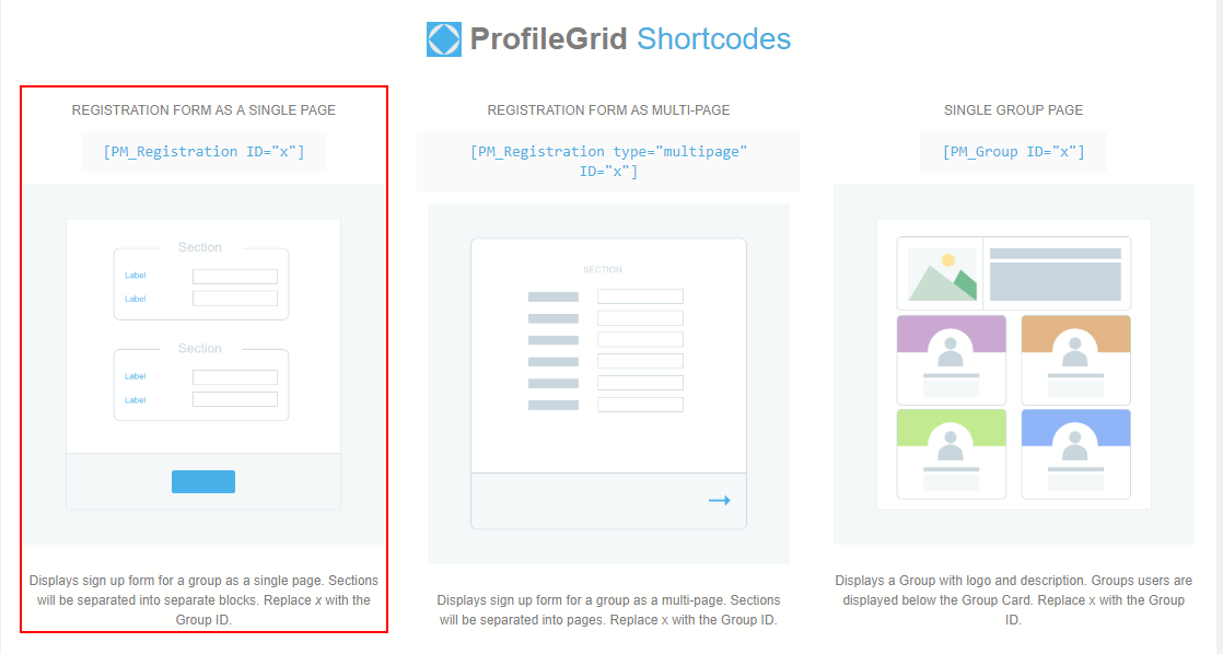 Single Page Registration Form in WordPress profile grid shortcodes