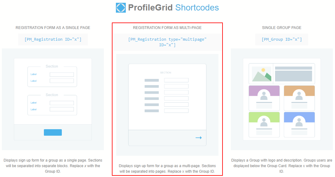 Multi Page Registration Form in WordPress profile grid shortcodes