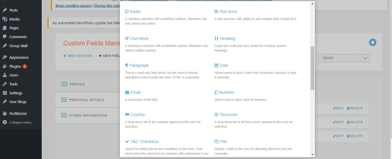 WordPress Membership Plugin new fields