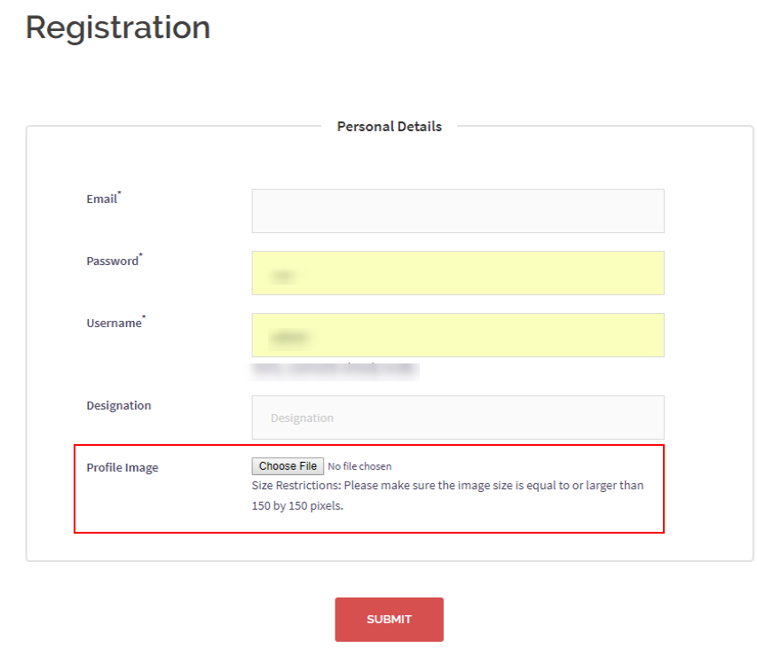 WordPress profile picture registration form