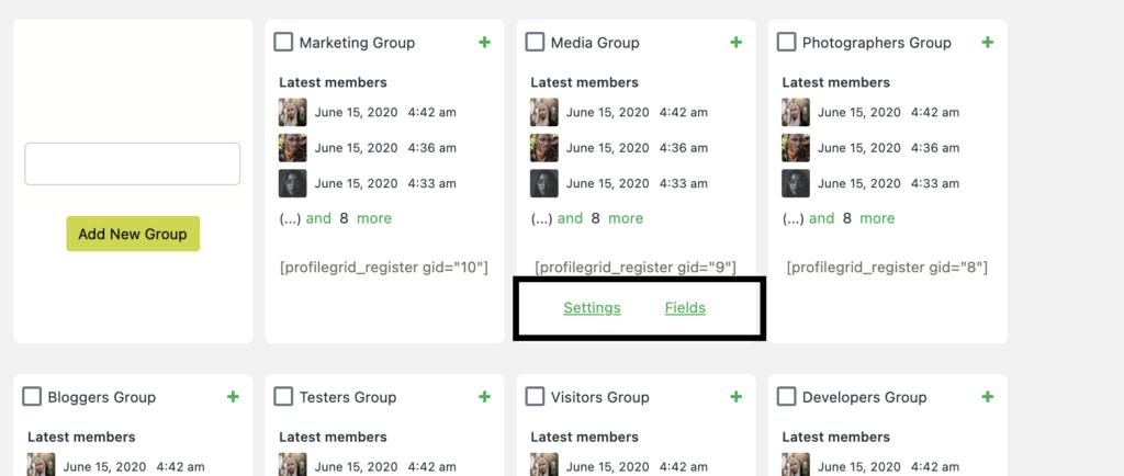 Group Options - ProfileGrid