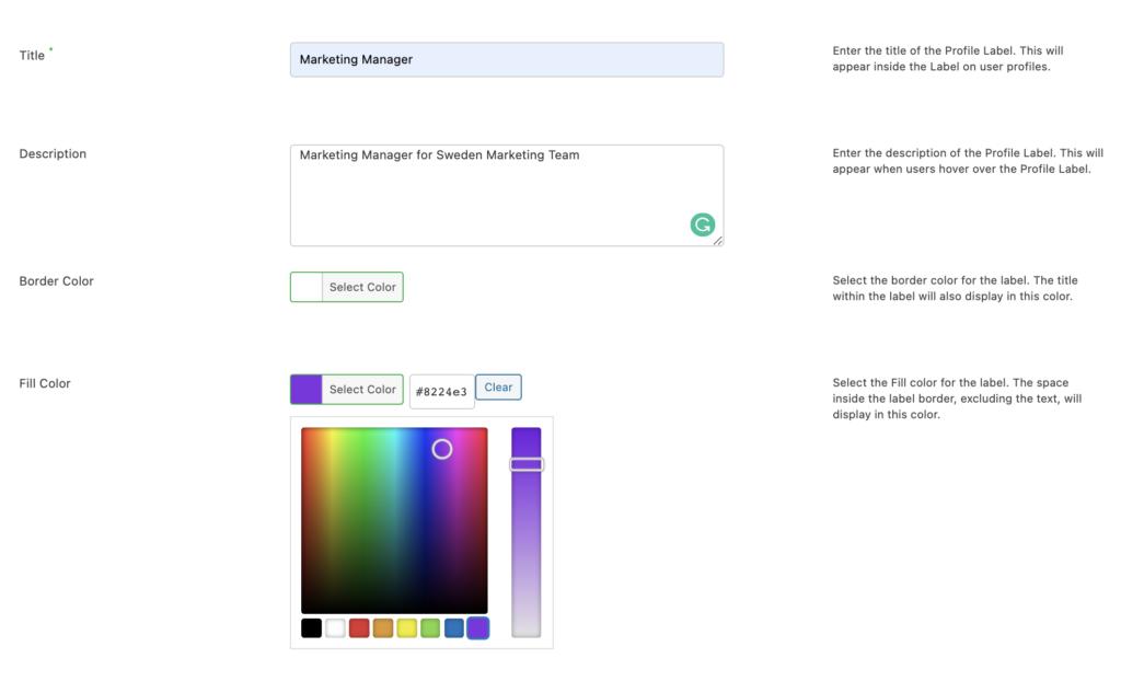 create custom labels - customizations