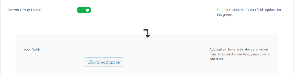 Custom group filed toggle