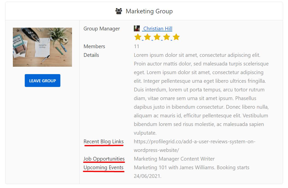 Marketing groups custom fields