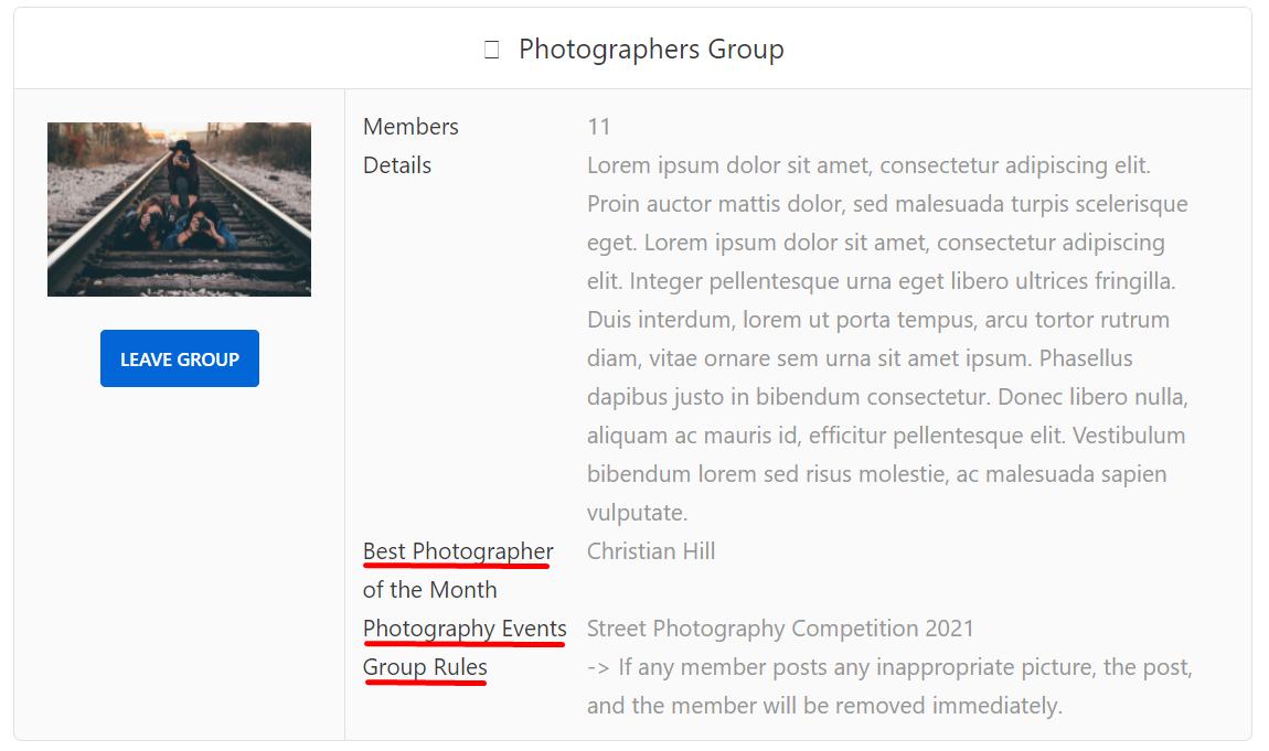 Photography Group custom fields