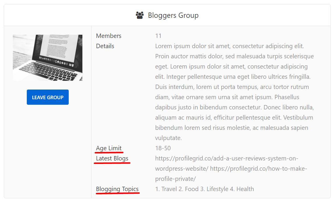 Blogger group custom fields
