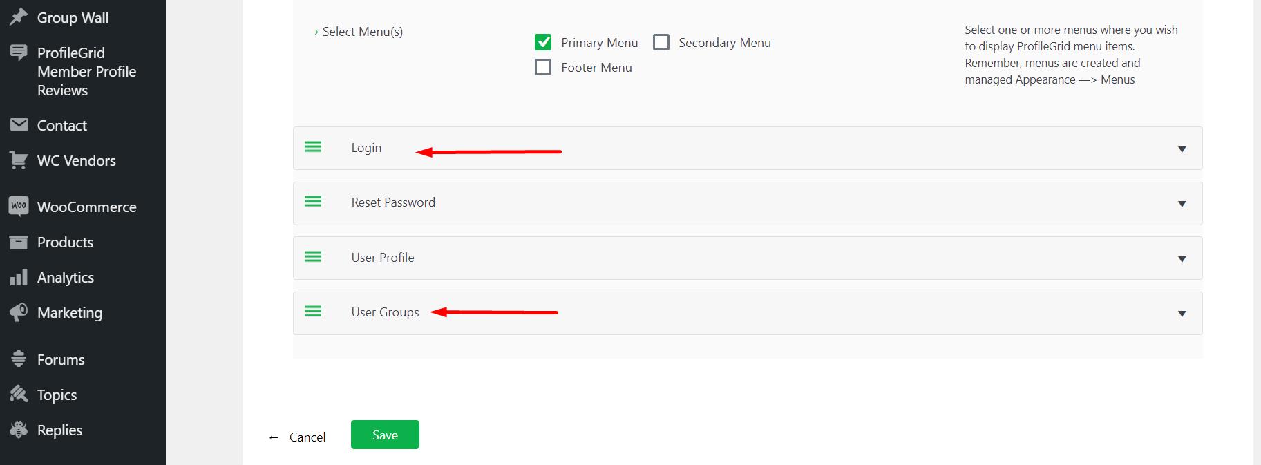 ProfileGrid Menu Integration Settings