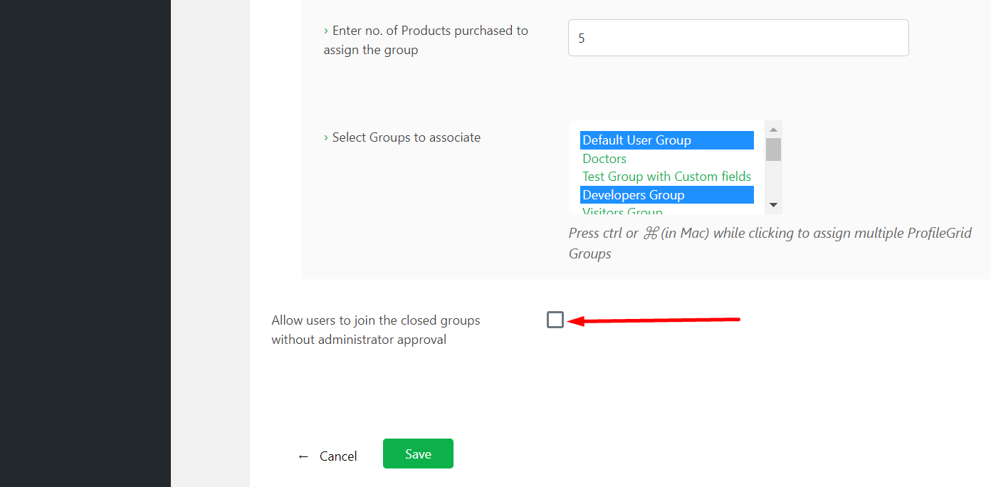 of Products purchased to assign the group