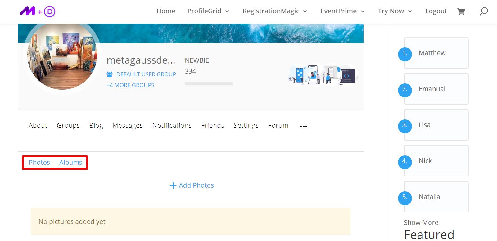User Profile Photos