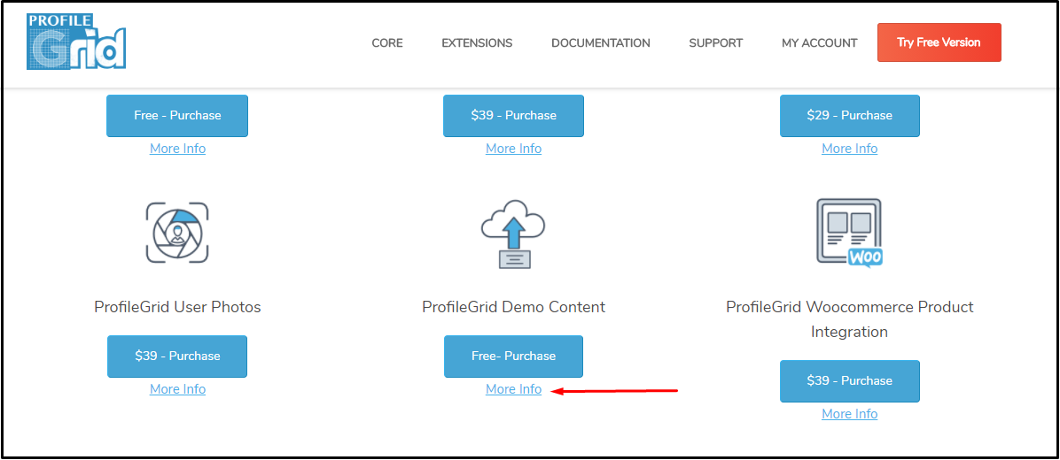 import demo wordpress extension