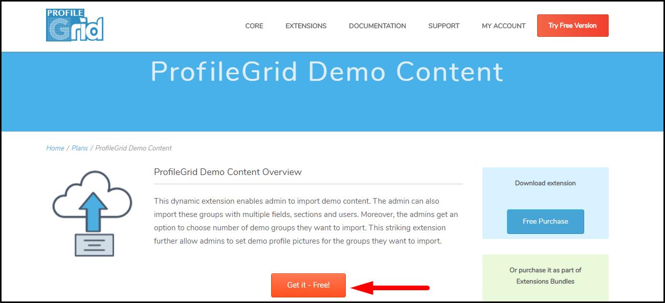 ProfileGrid- wordpress import demo content