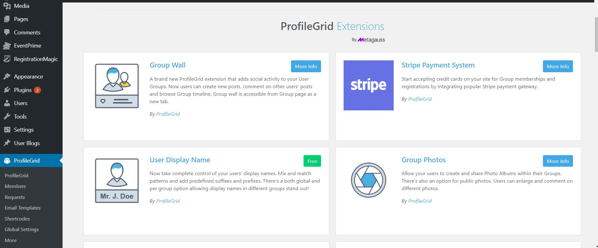 ProfileGrid Extensions