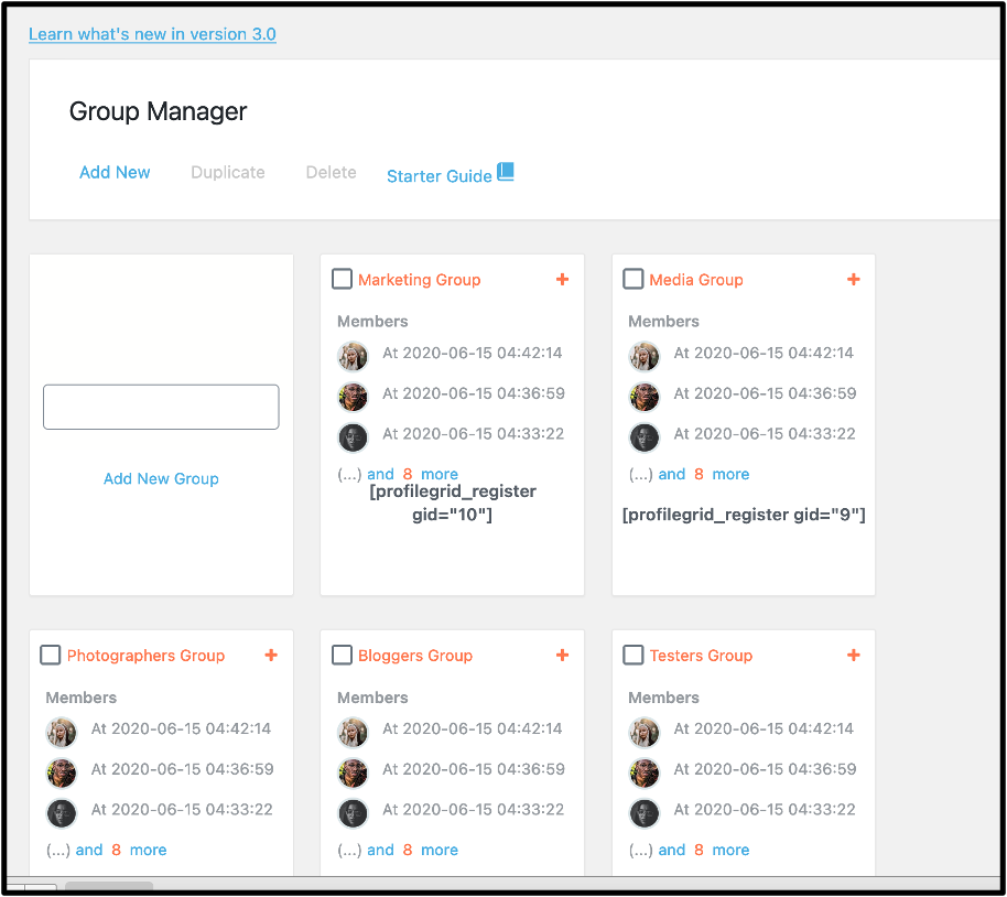 WordPress members area