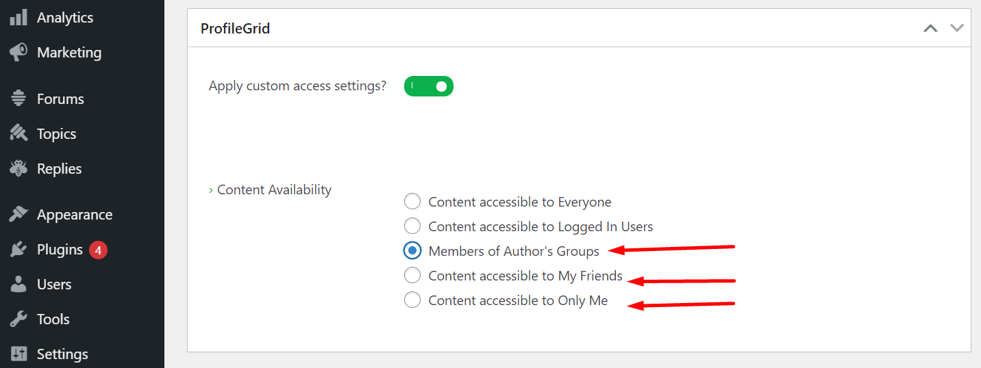 Restrict content