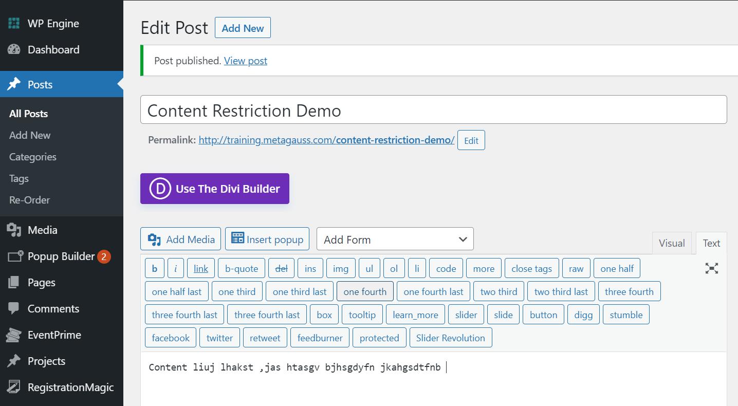 Post restriction demo