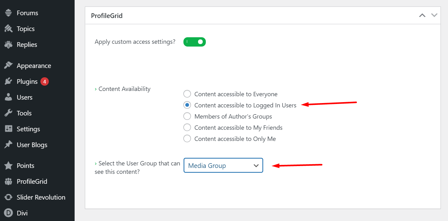 Content accessible to Logged In Users