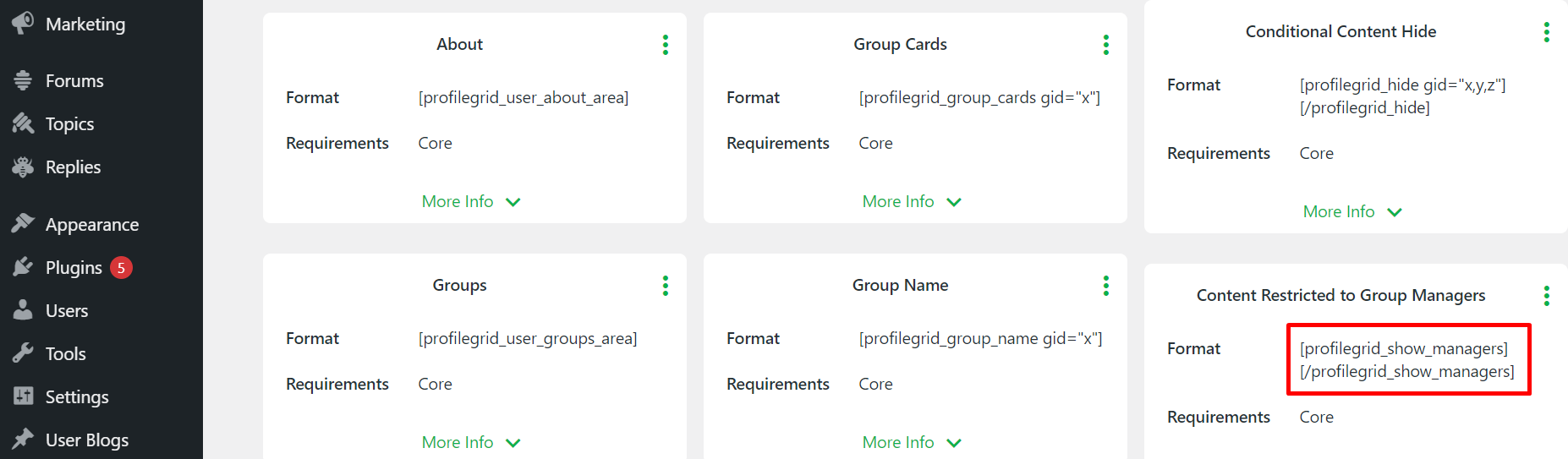 Content Restricted to Group Managers