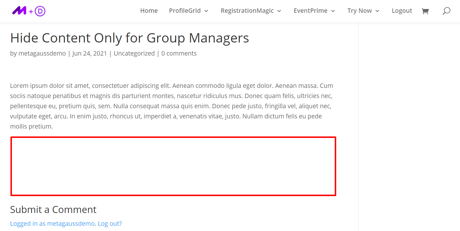hide Content Restricted to Group Managers