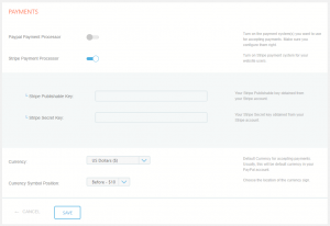 Stripe Admin Settings